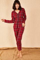 Qadın üçün qolu uzun, qırmızı pijama dəsti 10301002