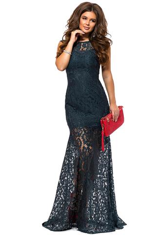 Длинное кружевное платье, бутылочного цвета