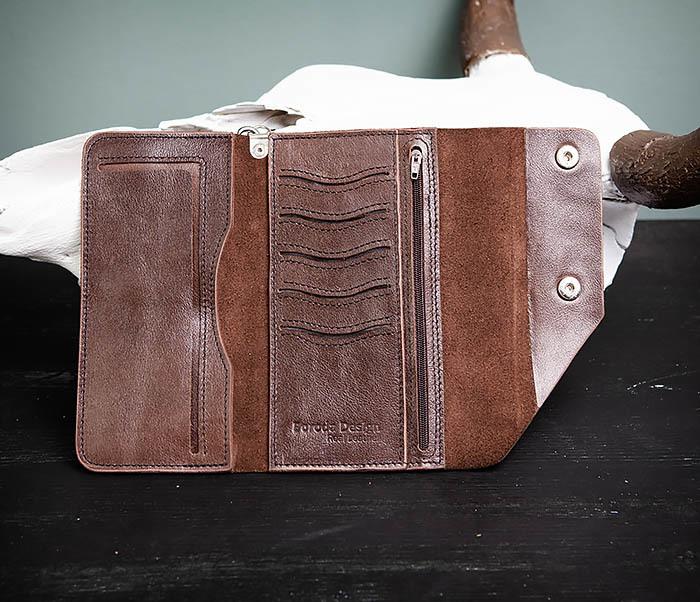 WL242-2 Вместительный кошелек (клатч) из натуральной кожи, ручная работа фото 06