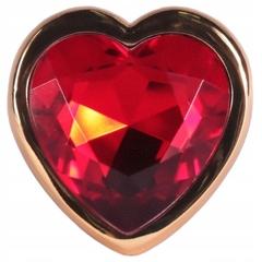 Анальная пробка с сердечком (золотой/красный) S