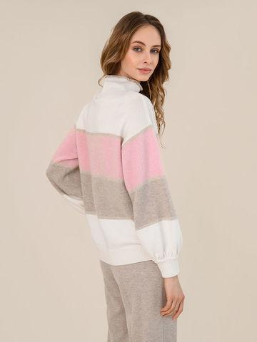 Женский свитер молочного цвета из шерсти и кашемира в полоску - фото 4