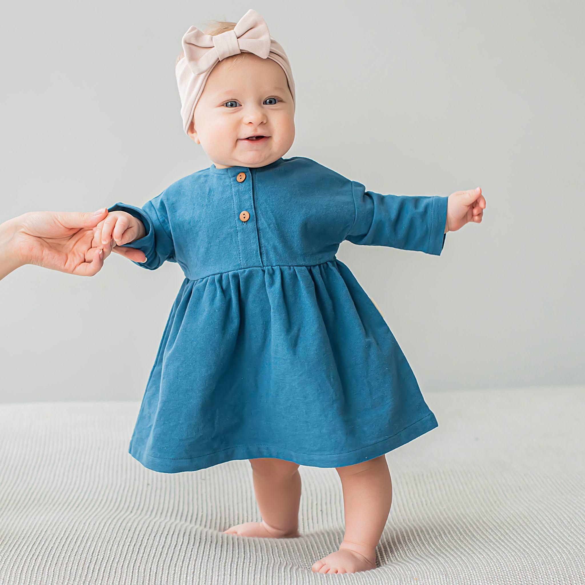 Flannel dress 0+, Cobalt Blue