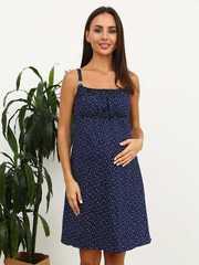 Мамаландия. Сорочка для беременных и кормящих, звезды/темно-синий
