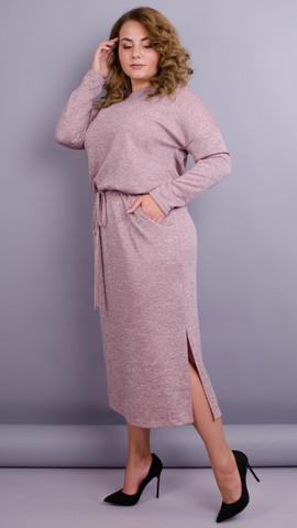 Леся. Оригинальное платье для дам size plus. Пудра.