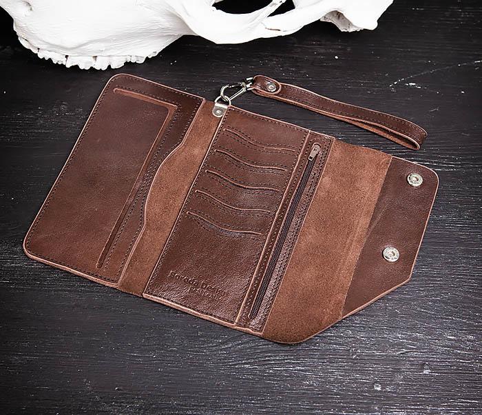 WL242-2 Вместительный кошелек (клатч) из натуральной кожи, ручная работа фото 07
