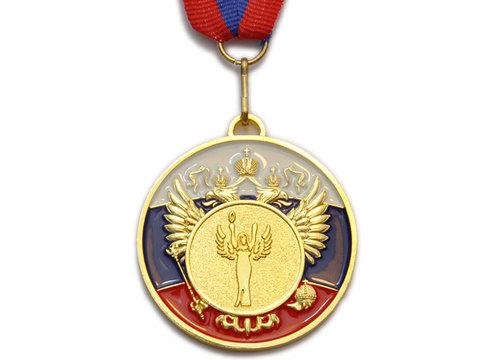 Медаль спортивная с лентой за 1 место. Диаметр 5 см: 5200-7