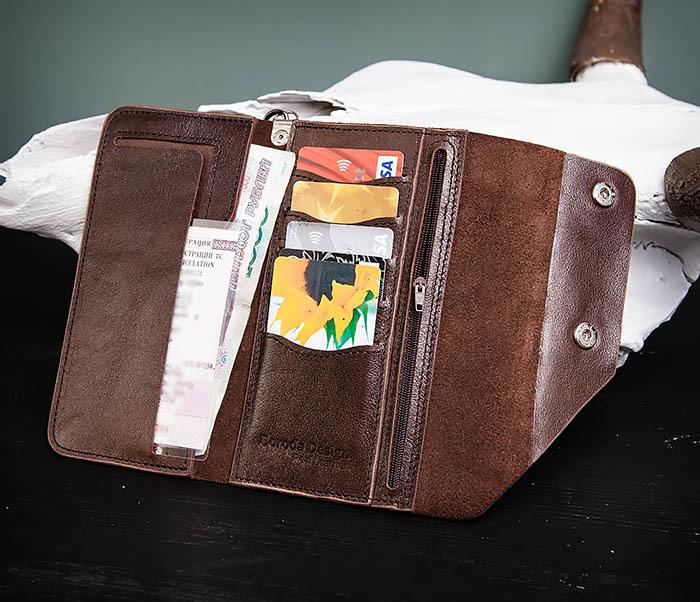 WL242-2 Вместительный кошелек (клатч) из натуральной кожи, ручная работа фото 08