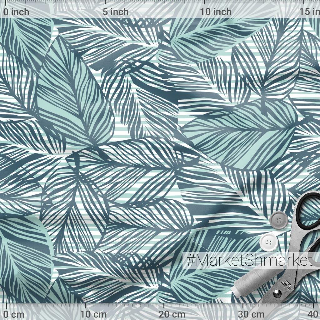 Тропические листья на полоске