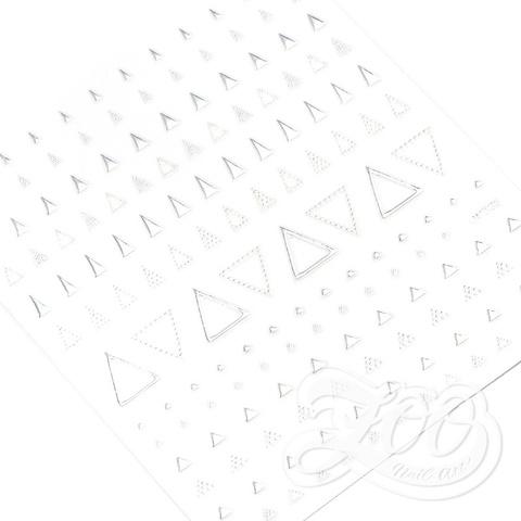 1375 Наклейки металлизированные треугольники серебро