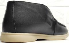 Черные полуботинки лоферы женские натуральная кожа Rozen 6023+1 «Loro Piana».