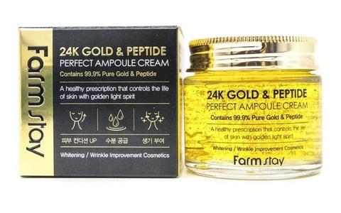 Антивозрастной крем с частичками золота и пептидами Farm Stay 24K Gold & Peptide Perfect Ampoule Cream 80ml