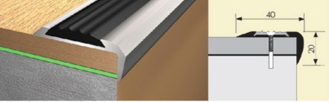 Профиль Русский Профиль Угол с резиновой вставкой 40*20мм Алюминий 900мм