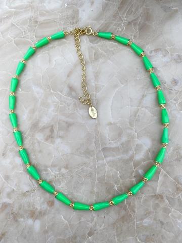 Колье Бонго светло-зеленое, позолота