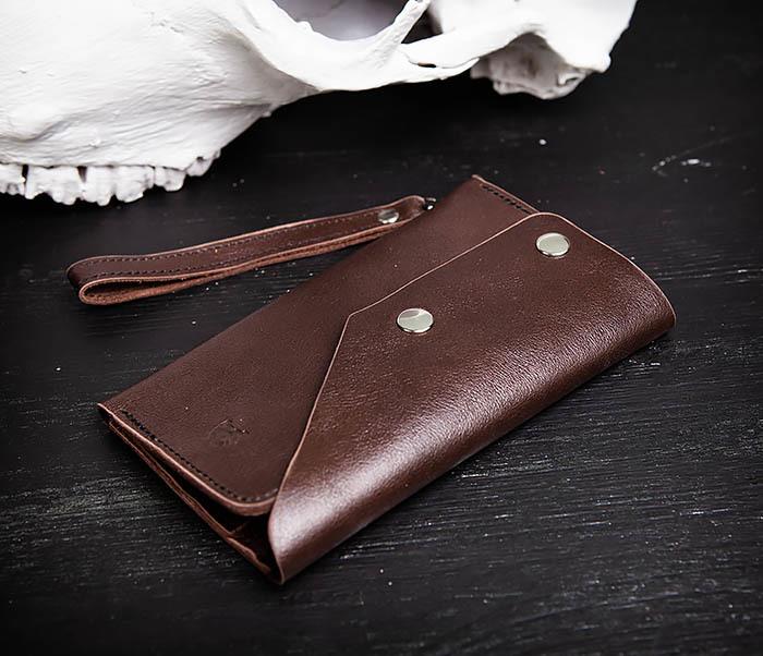 WL242-2 Вместительный кошелек (клатч) из натуральной кожи, ручная работа фото 10