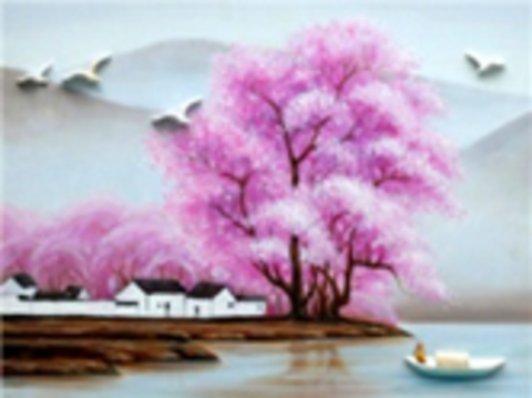 Картина раскраска по номерам 40x50 Лодка у берега с цветущей сакурой
