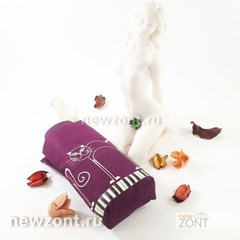 Плоский женский бордовый мини зонт NEX с кошечками