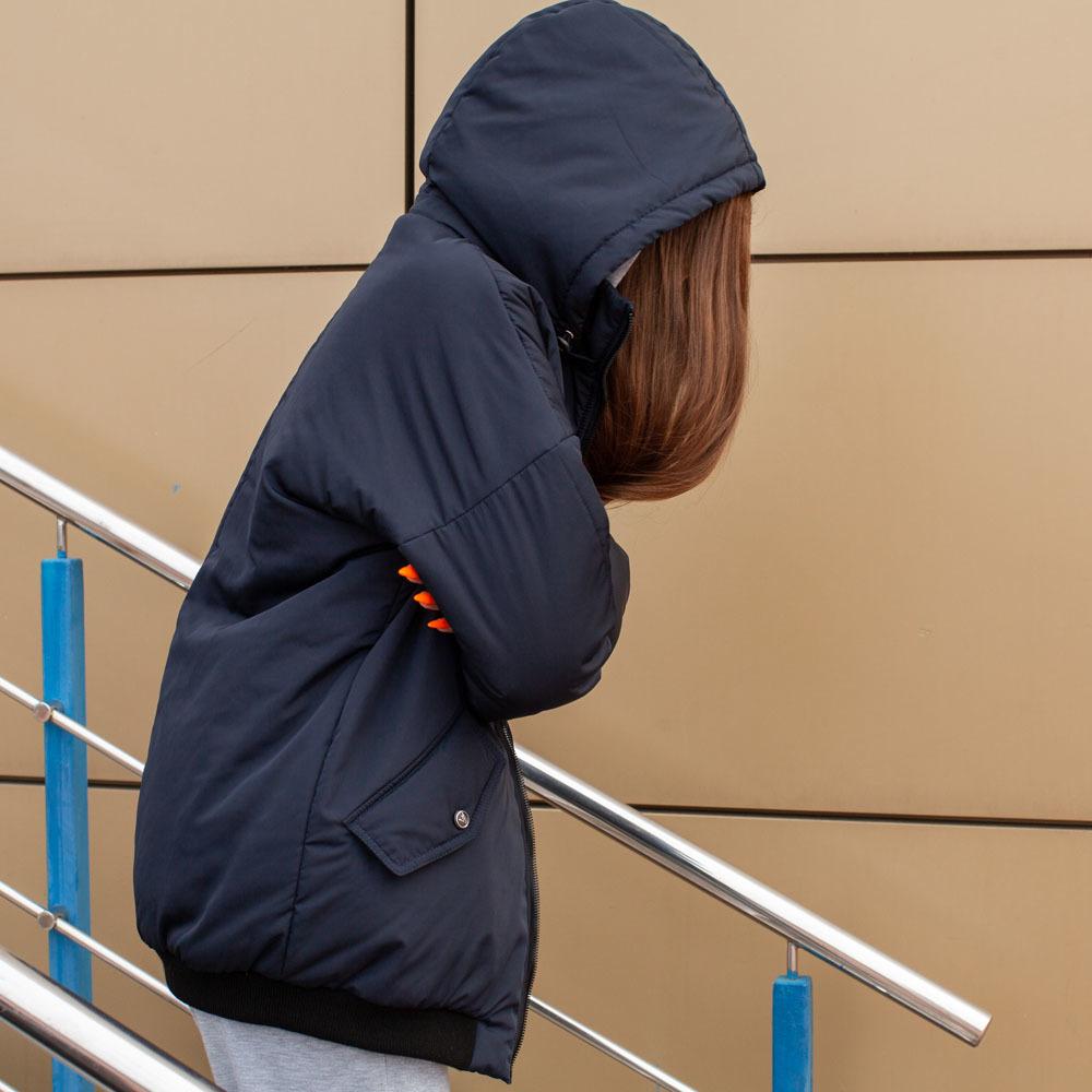 Демісезонний бомбер синього кольору з водовідштовхувальної плащової тканини на дівчинку