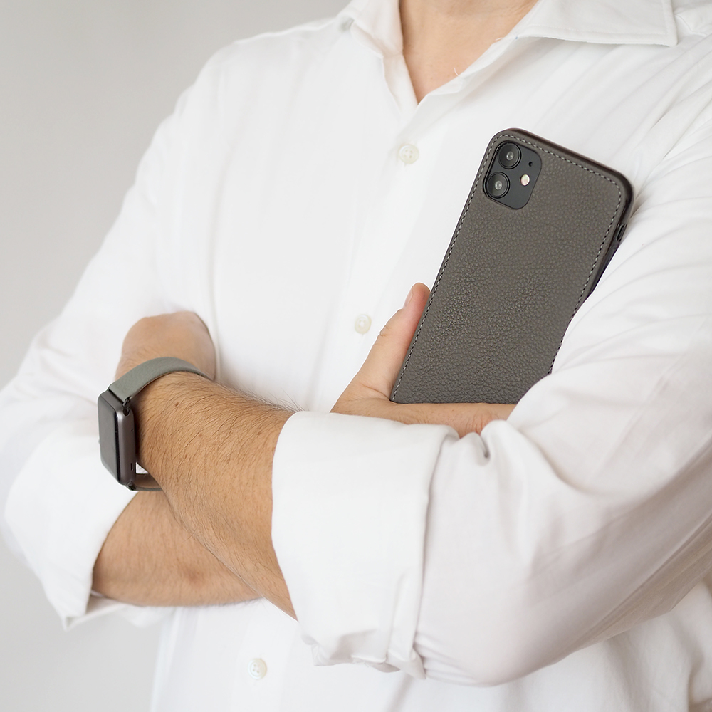 Чехол-накладка для iPhone 11 из натуральной кожи теленка, серого цвета