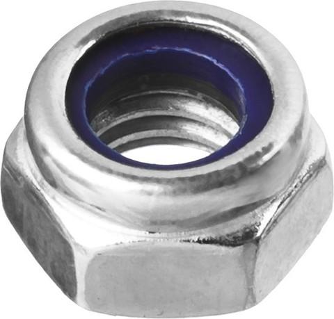Гайка DIN 985 с нейлоновым кольцом, M16, 5 кг, кл. пр. 6, оцинкованная, ЗУБР