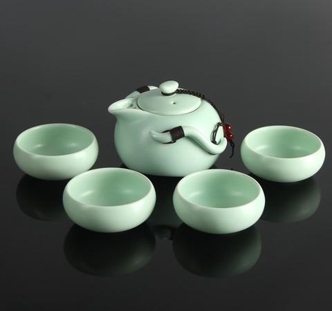 Набор для чайной церемонии Tyasitsu Waves, 8 предметов: чайник 120 мл, 4 чашки 50 мл, щипцы, салфетка, подставка
