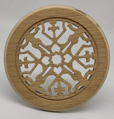 Решетка декоративная деревянная круглая на магнитах Пересвет К-36 d100мм