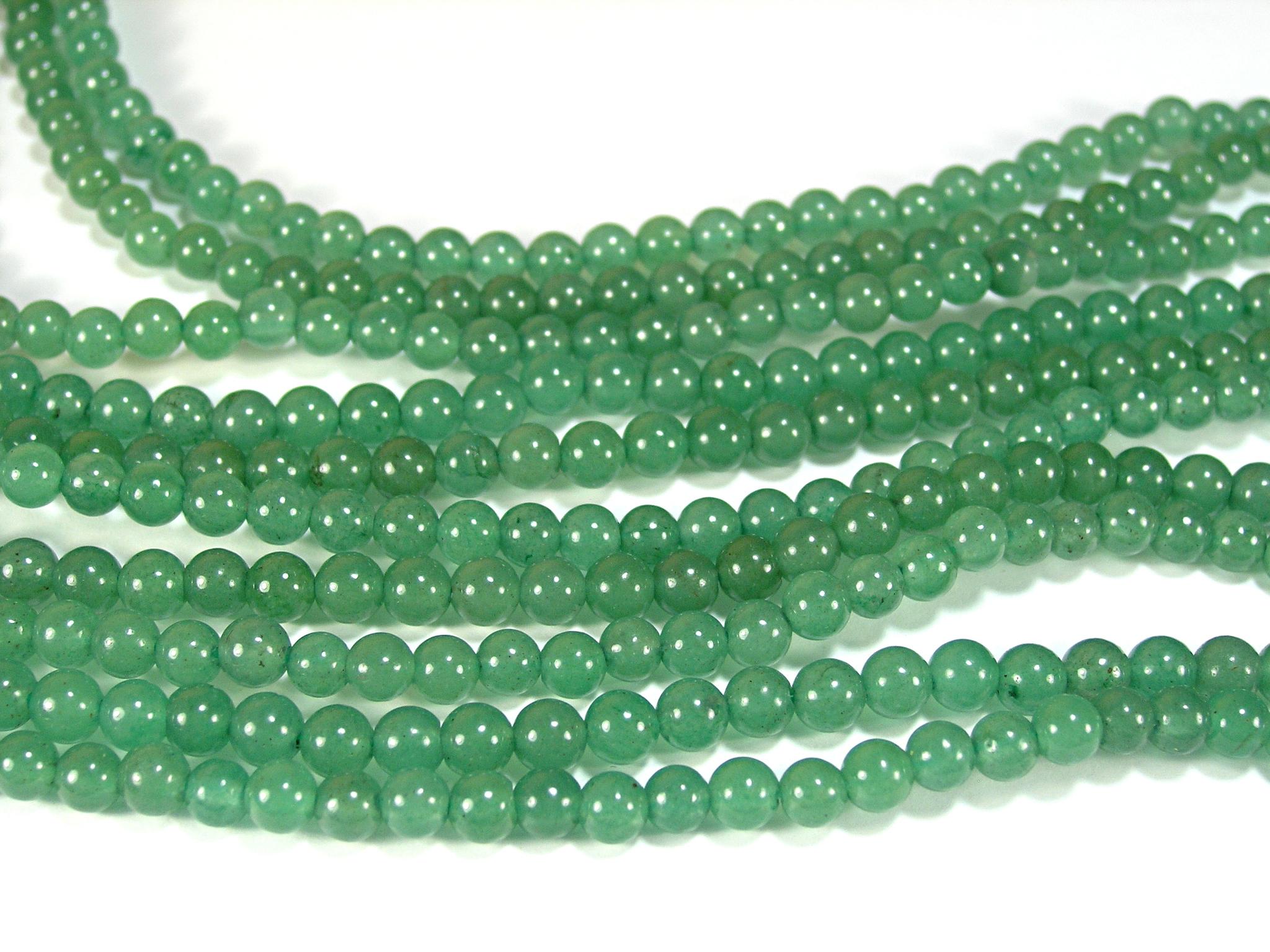 Нити бусин из авантюрина зеленого, шар гладкий 6мм (оптом)