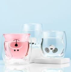 Стеклянные цветные стаканы с двойными стенками в форме мишки 3 штуки, 250 мл