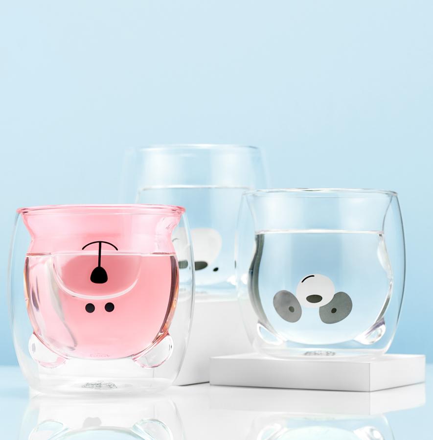 Кружки, стаканы двойные из стекла. Необжигающие чашки и пиалы. Стеклянные цветные стаканы с двойными стенками в форме мишки 3 штуки, 250 мл stakan-mishki-teastar2.PNG