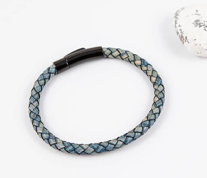 BM517-4 Браслет шнур из натуральной кожи голубого цвета фото 02