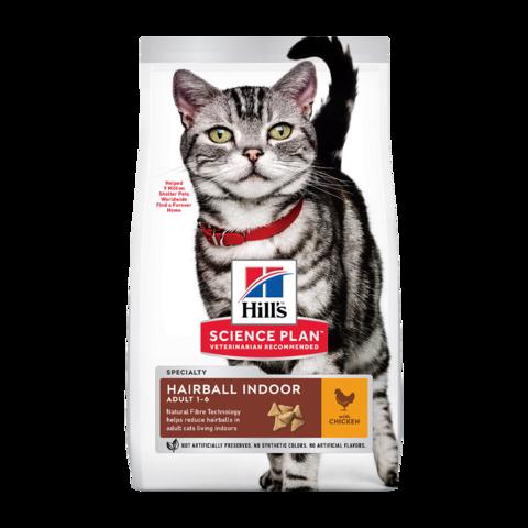 Hill's Science Plan Hairball Indoor Сухой корм для домашних кошек для выведения шерсти из желудка с Курицей