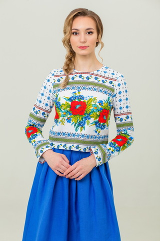 Блуза льняная Маков цвет