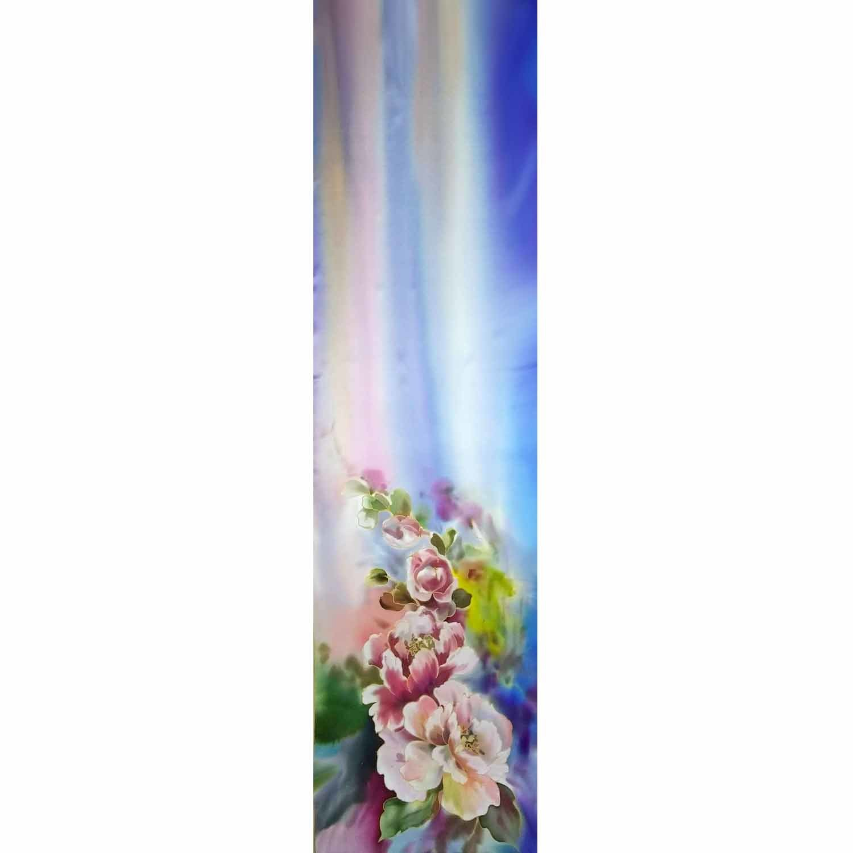 Шелковый шарф батик Пионы