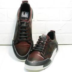 Бордовые кеды кроссовки демисезонные мужские Luciano Bellini C6401 MC Bordo.