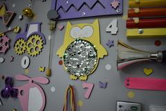 Бизиборд ГИГАНТ 100х60 см Фиолетово-Желто-розовый