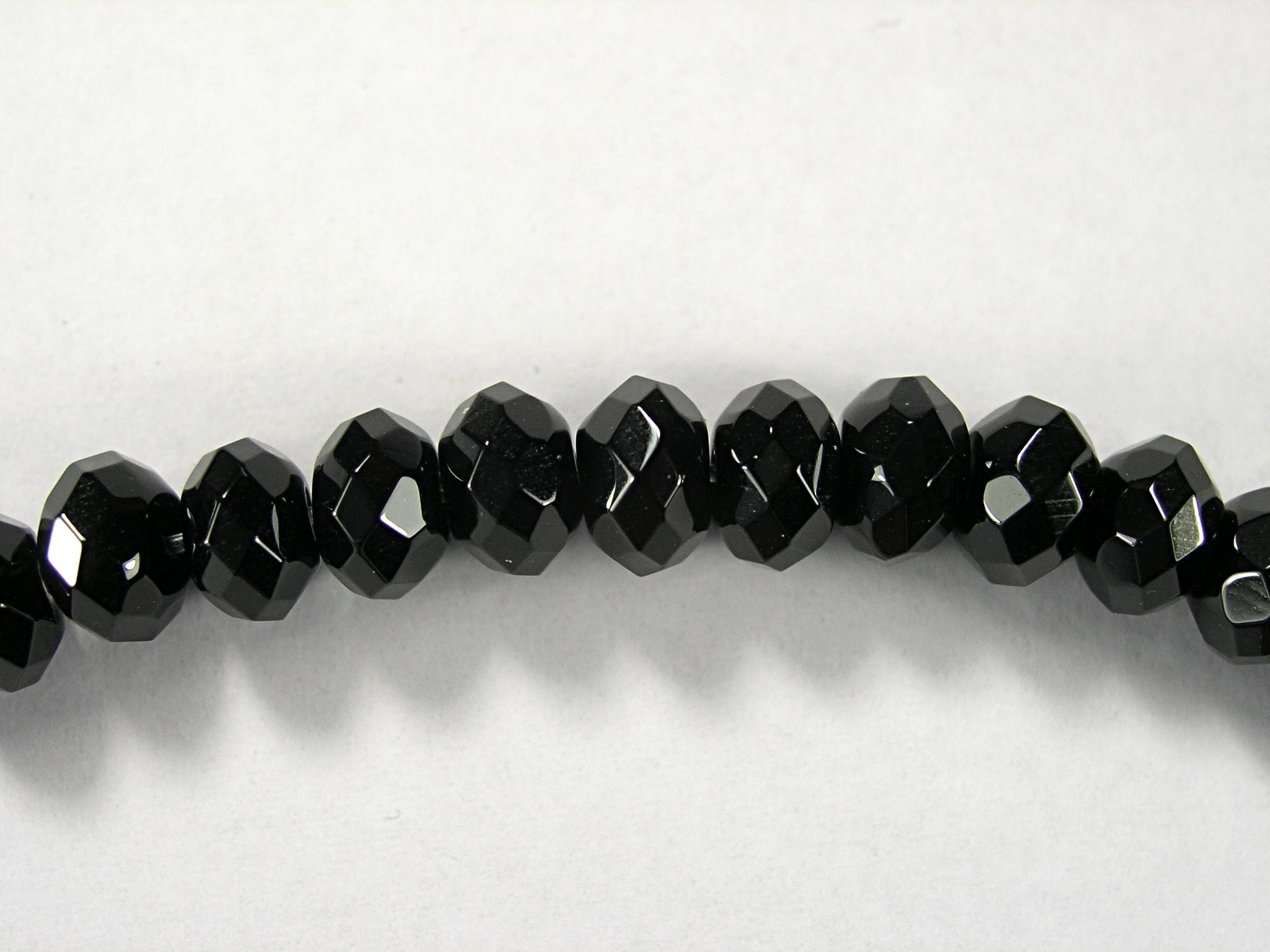 Бусина из агата черного, фигурная, 6x8 мм (рондель, граненая)