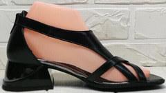 Летние женские босоножки на каблуке Evromoda 166606 Black Leather.
