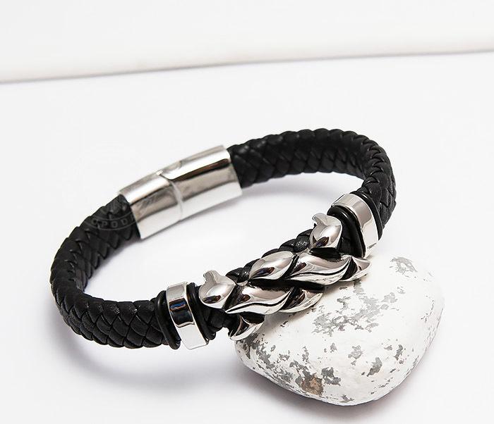BM463 Массивный мужской браслет из плетеной кожи и стали (21,5 см)