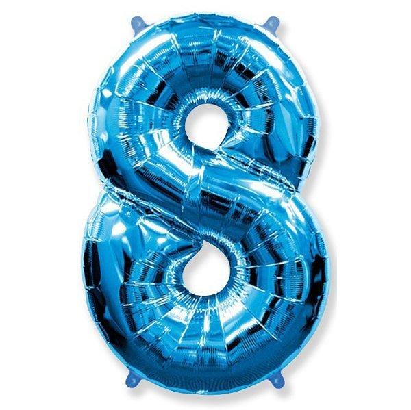 Фольгированная цифра 8, синий