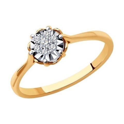 1012159 - Кольцо из комбинированного золота с родированием с бриллиантами