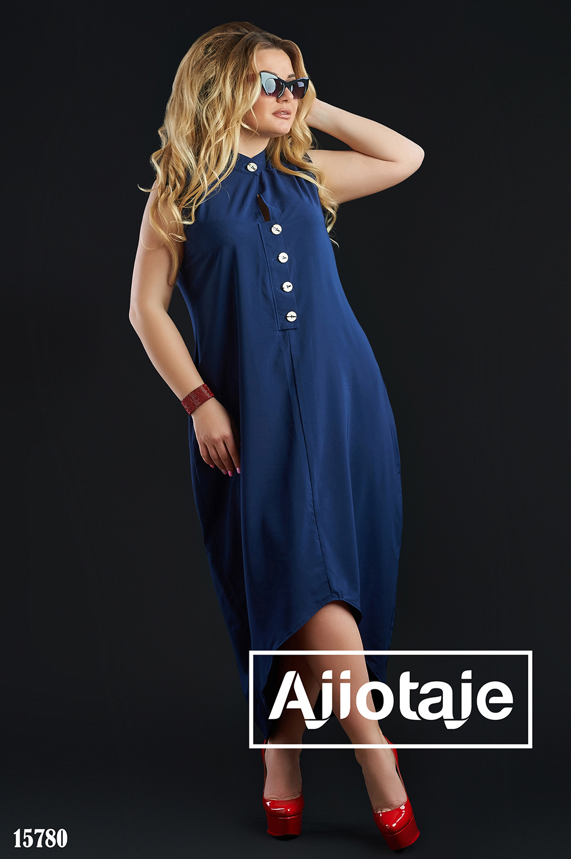 Темно-синее платье с воротником стойка