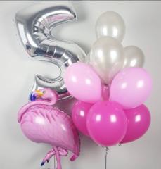 Воздушный шар (40''/102 см) Цифра, 5, Серебро, 1 шт.