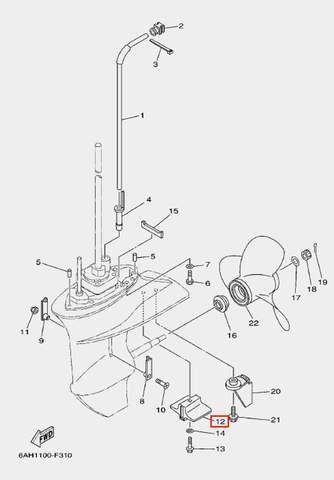 Анод для лодочного мотора F20 Sea-PRO (24-12)