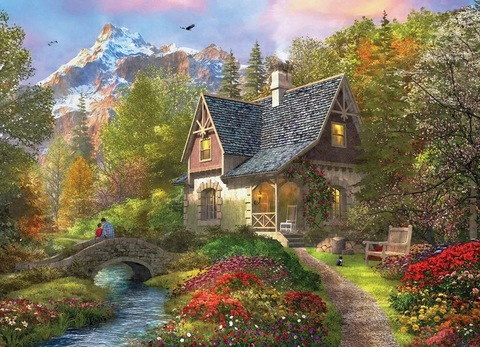 Картина раскраска по номерам 40x50 Домик в сказочном лесу  (арт. RA3555)