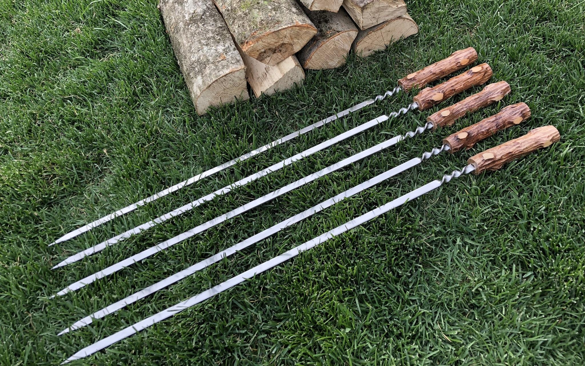 """Шампуры из нержавейки Шампур с деревянной ручкой 3мм """"Пенёк"""" (ширина 14мм) №10 IMG_3779.JPG"""