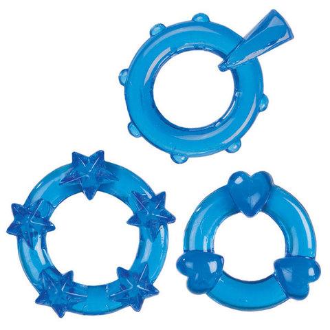 Набор из 3 синих эрекционных колечек Magic C-Rings