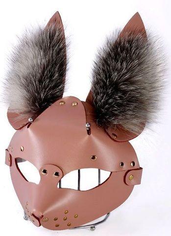Розовая маска  Зайка  с меховыми ушками