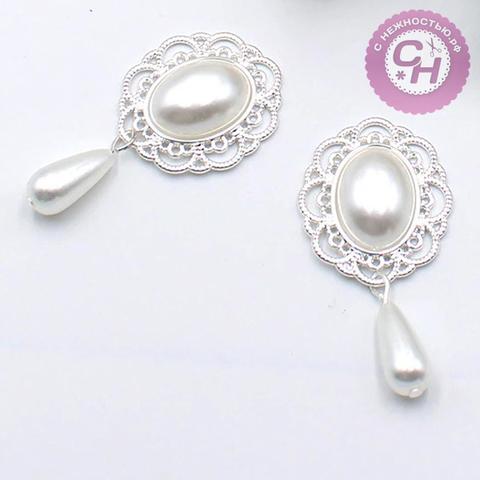 Кабошон - украшение ажурное капля с жемчужинами, 25*45 мм, металлическое, 1 шт.
