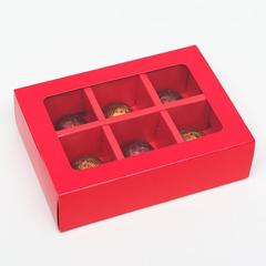 Коробка для конфет 6 шт, алый, 13,7 х 9,85 х 3,86 см