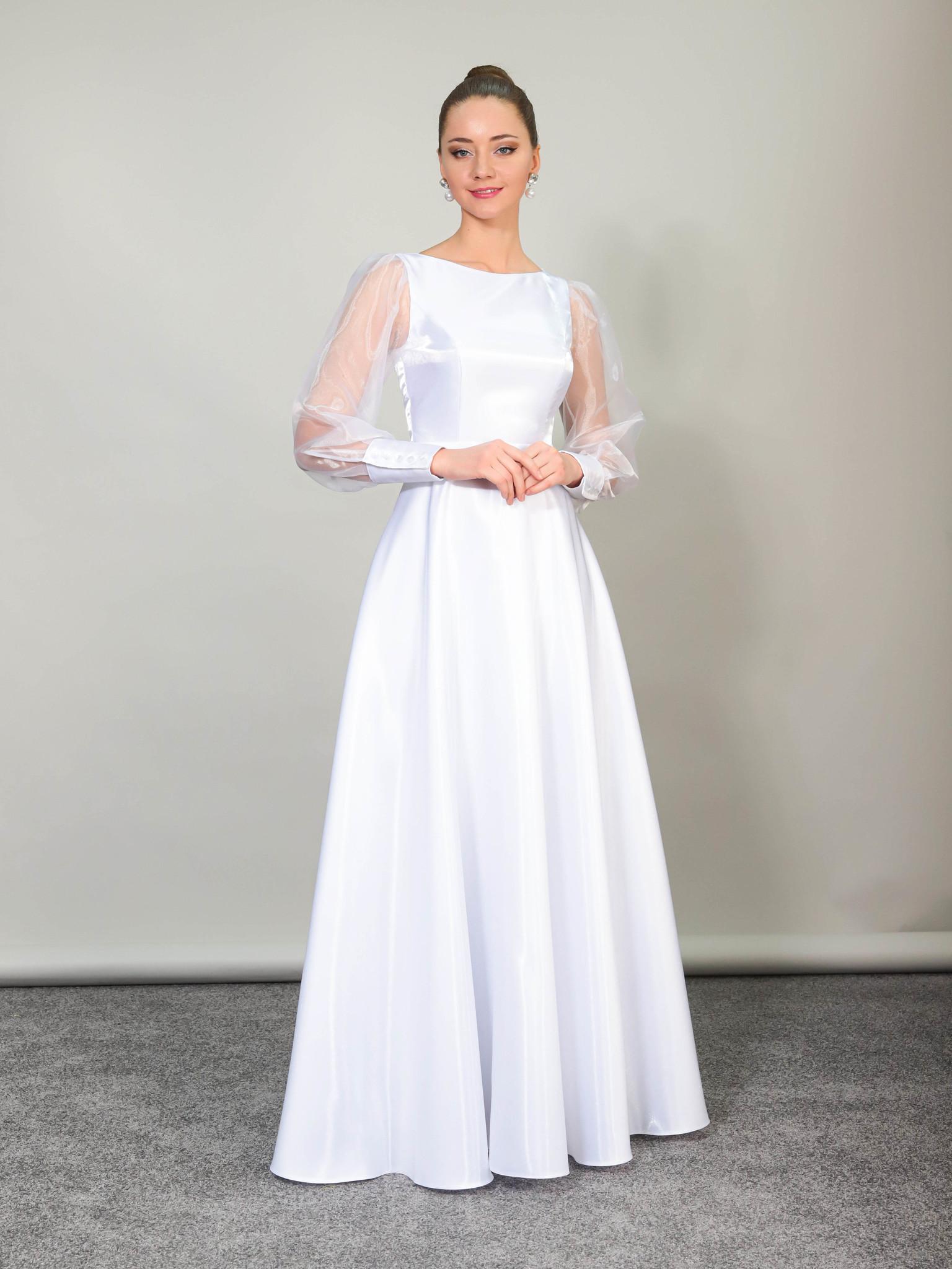 Свадебное платье Классика с манжетами на рукавах (белый)