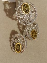 Арта-зеленый(кольцо + серьги из серебра)